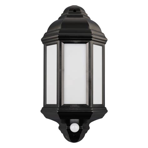 7w warm white smd led black pir security half lantern outdoor wall light qvs direct