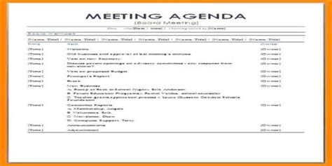 sample formal meeting agenda format assignment point