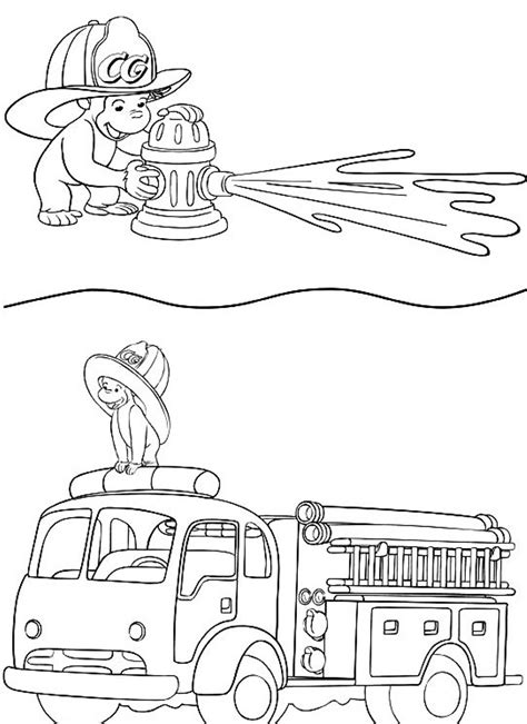 Curious George Fire Engine Coloring Page Curious Free