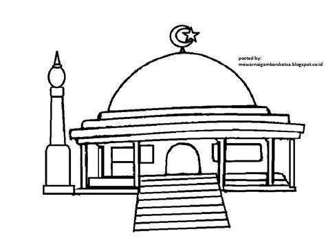 mewarnai gambar mewarnai gambar sketsa masjid 3