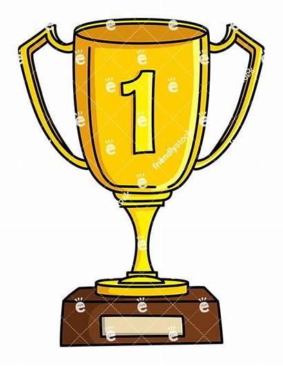 Cup Winner Clipart Place Gold Vector Cartoon