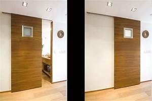 Porte Coulissante Salle De Bain : porte coulissante avec hublot opaque pour la salle de bain ~ Mglfilm.com Idées de Décoration