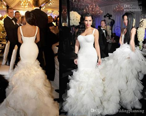 Elegant Kim Kardashian Mermaid Luxury Wedding Dresses