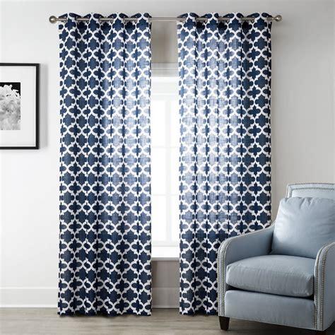 Blue Modern Style Bedroom Curtains Printed Geometric