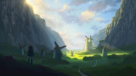 Mountain, Landscape, Windmills, Sun Rays, Nausicaa Of The