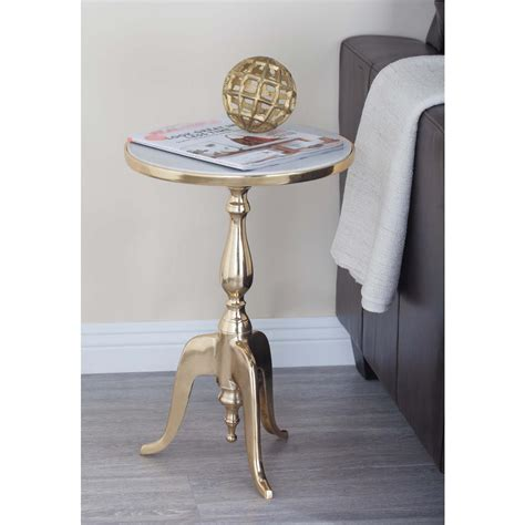 white round accent table classic round white marble accent table 68998 the home depot