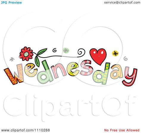 Clipart Colorful Sketched Wednesday Text Royalty Free