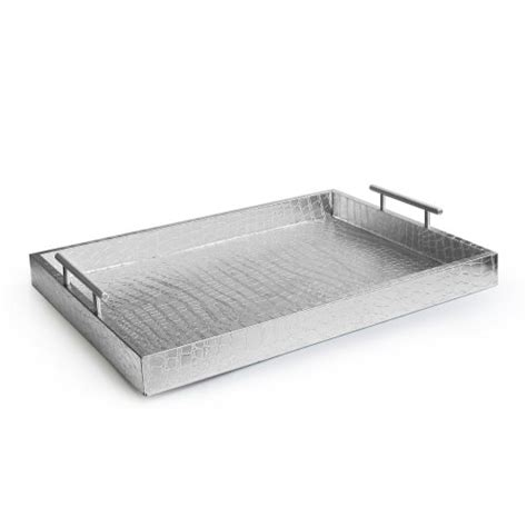 accents by jay alligator tray with metal handles silver