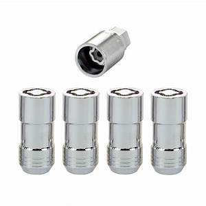 Chrome Cone Seat Wheel Lock Set  M14 X 1 5 Thread Size