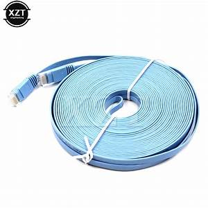1pc 15m For Router Dsl Modem 50ft Cat6 Flat Utp Ethernet