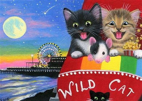 kittens cat mouse roller coaster amusement park moon original aceo painting art parks