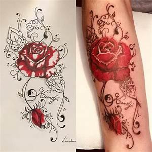 Rose En Tatouage : tattoo rose rouge en manchette lalite ink ~ Farleysfitness.com Idées de Décoration