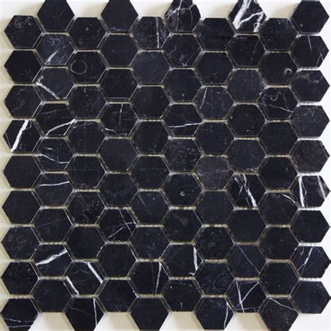 black hexagon tile search surface materiality