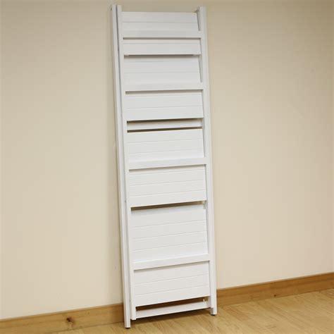 tier white ladder shelf display unit  standing