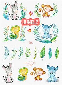 Jungle Watercolor animals clipart, zebra, rhino, snake