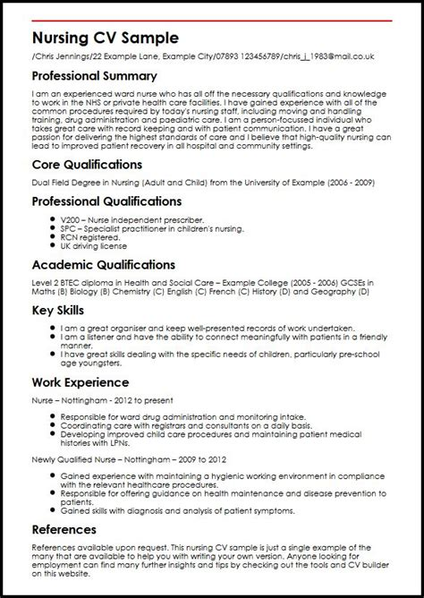 Curriculum Vitae Templates For Nurses by Nursing Cv Sle Myperfectcv