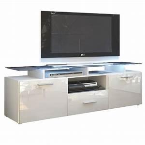 Meuble Haut Blanc Laqué : meuble tv blanc laque 140 cm ~ Teatrodelosmanantiales.com Idées de Décoration