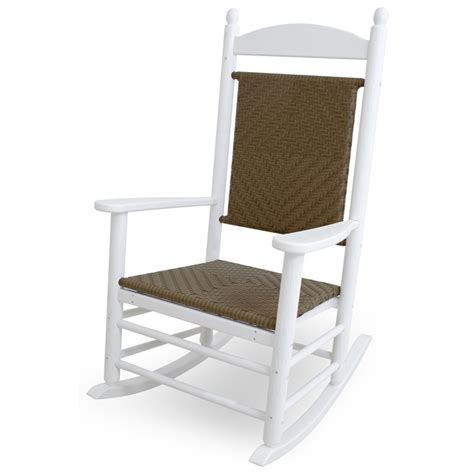 polywood white jefferson woven rocking chair outdoor