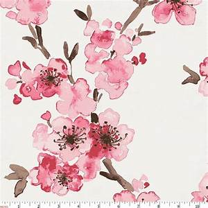 Pink Cherry Blossom Fabric by the Yard Pink Fabric