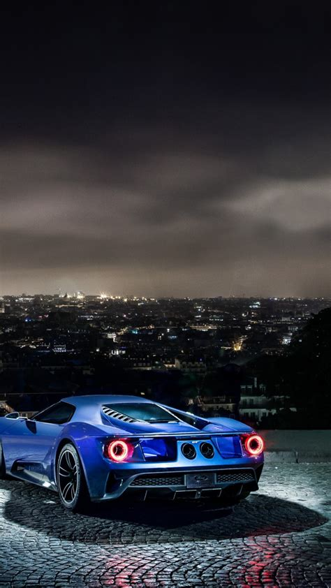 wallpaper ford gt supercar concept blue sports car