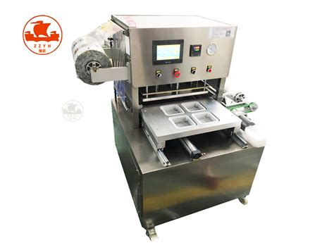 automatic plastic map meal food salad tray sealing machine