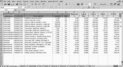 fix materials takeoff estimating template
