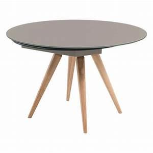 Table Ronde Extensible Pied Central : table ronde moderne en verre et bois avec allonges demi lune myles 4 ~ Teatrodelosmanantiales.com Idées de Décoration