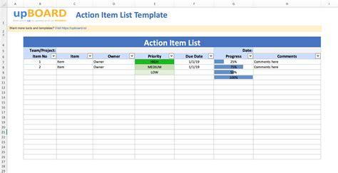 action item lists digital  tools templates
