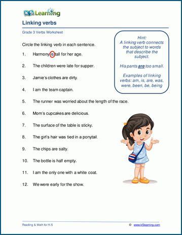 linking verbs worksheets for grade 3 k5 learning