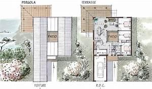 maison ossature bois de plain pied 96 m2 3 chambres eos With plan maison avec patio