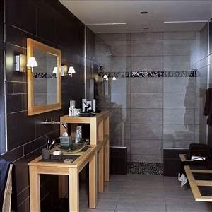 idee decoration salle de bain salle de bains bois noir With salle de bain noir et bois