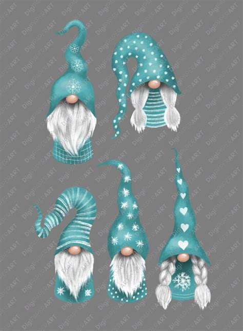 777 christmas free vectors on ai, svg, eps or cdr. Nordic Teal Christmas Gnomes Clipart, Nisse Clip Art ...