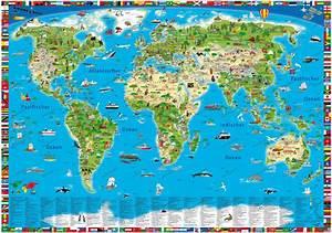 Weltkarte Poster Kinder : illustrierte kinderweltkarte als poster landkarten ~ Yasmunasinghe.com Haus und Dekorationen