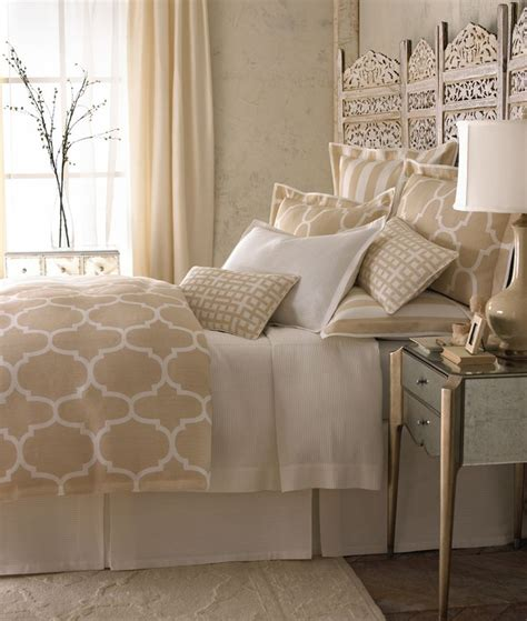 neutral colored bedding the everyday home beautiful neutral bedroom with a screen used as headboard love the print on