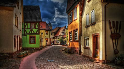 beautiful street  town hd wallpaper
