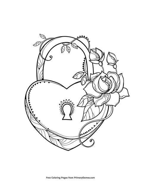 Heart Shaped Lock Coloring Page • FREE Printable eBook | Heart coloring pages, Pattern coloring