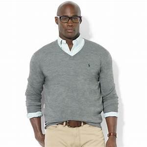 Ralph lauren Vneck Merino Wool Sweater in Gray for Men   Lyst