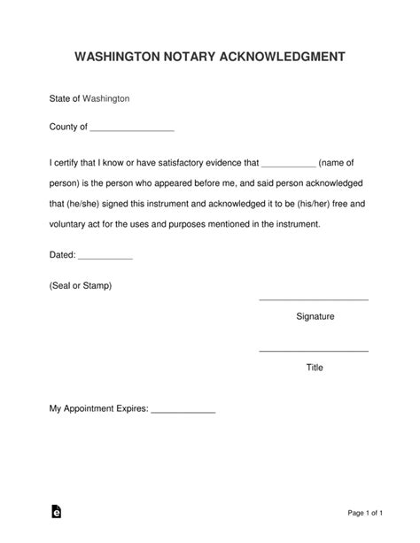 notary form washington word pdf acknowledgement template wa acknowledgment forms templates eforms write odt info