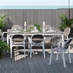 Salon de jardin 8 places: table rectangulaire extensible en DurelTOP avec fauteuils ALLORO/PALMA