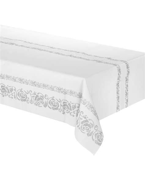 nappe en papier blanche arabesques argent 233 es 120 x 180 cm d 233 coration anniversaire et f 234 tes 224