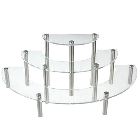 table top display risers clear acrylic 3 tier half moon shelf unit table top