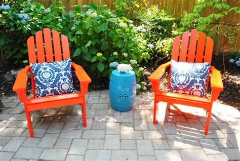 adding bright adirondack chairs to our side patio