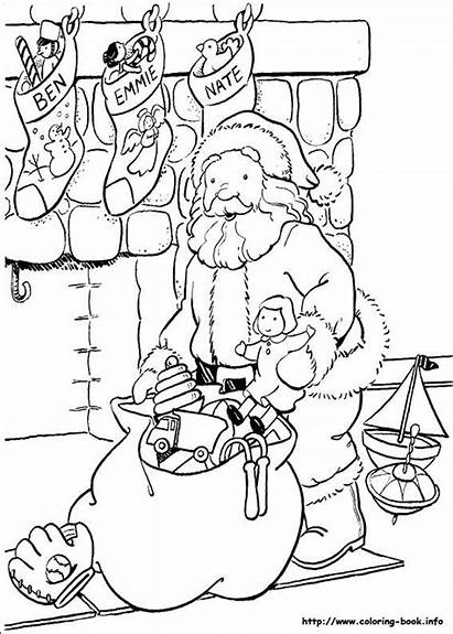 Coloring Pages Santa Christmas Fireplace Stocking Merry