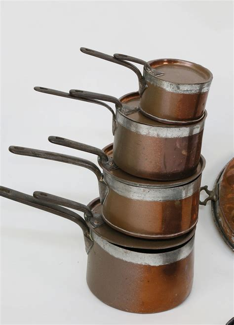 antique french copper cookware collection collection   pieces  antique french copper