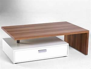 Couchtisch porter 105x37x65cm tisch wei nussbaum dekor for Tisch wohnzimmer