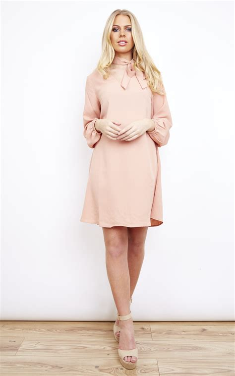 Dusty Pink Pussy Bow Dress Glamorous Silkfred