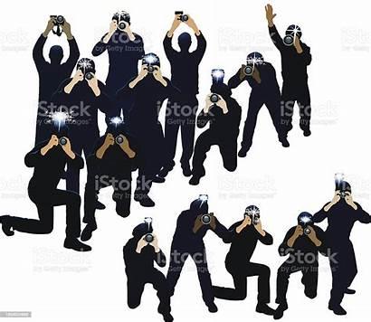 Paparazzi Photographers Vector Photographer Photojournalists Illustration Illustrations