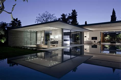 tranquil glass walled house  innovative furnishings