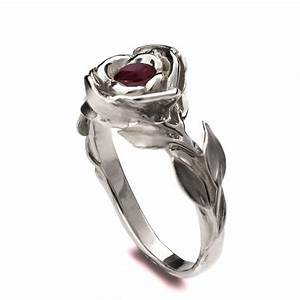 rose engagement ring 18k white gold ruby engagement ring With game of thrones wedding rings