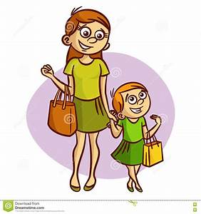Mother With Little Girl Walking Stock Vector ...